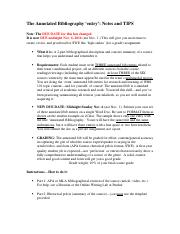 Annotate Bibliography Process Tips Oct 27