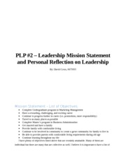 PLP - Leadership Mission Statement and Personal Relfection of Leadership