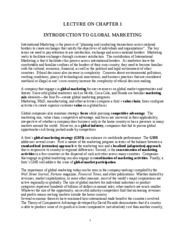 Ch. 1 - Introduction to Global Marketing