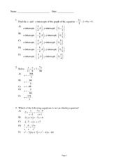 Quiz Solutions on Equations