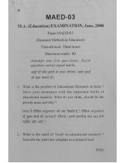 (www.entrance-exam.net)-VMOU M.A. in Education Research Methods in Education (MAED-03) Sample Paper