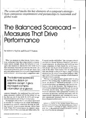 The Balanced Scorecard--Measures That Drive Performance