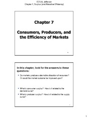 Chapter 07 Consumers Producers and the Efficiency of Markets 1