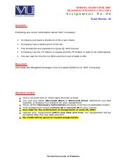 Business Finance - ACC501 Spring 2007 Assignment 07