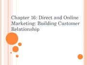 Chapter 16: Direct and Online Marketing