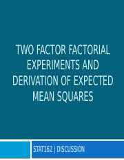 Exercise 9 - Two Factor Factorial and EMS