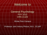 General Psych - Chapter 1[1].7 - Winter Park