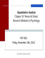 PSY B01.Lecture 10 Quantitative Analysis