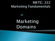 Lecture 2 - MARKETING DOMAINS