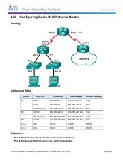 8.1.2.4 Lab - Configuring Basic DHCPv4 on a Router-.docx