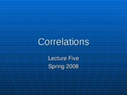 Lecture 5 - Correlation