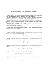 2011 Fall Midterm 1150 Test 1 Answers