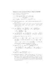 Math 11 - 2008 Fall - Exam 1 - Review sheet solutions