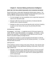 Chapter 8 - Decision Making and Business Intelligence (Summary Notes)
