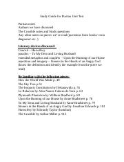 Study Guide for Puritan Unit Test