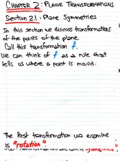 Math 1020 Plane Transformation Notes