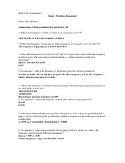 Hardy Weinberg Problems - BIOL 1200 Assignment 1 Hardy ...