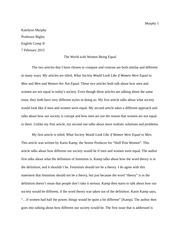 informative essay outline on reality tv katelynn murphy topic  4 pages compare and contrast english comp women rights
