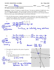 Quiz 8 Solution on Solving systems of linear equations algebraically and graphically