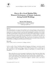 Anth 100.How to Be a Good Muslim Wife.Women's Performance of Islamic Authority During Swahili Weddin