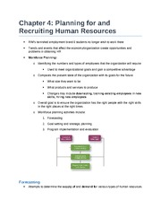 Chapter 4 - Planning for and Recruiting Human Resources
