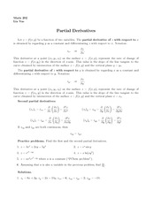Lecture 5 on Partial Derivatives