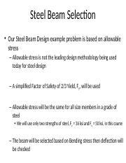 7 2_steel beam selection pptx - Steel Beam Selection Our