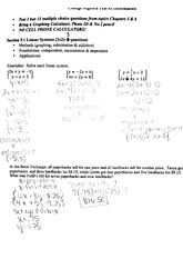 College Algebra Linear Systems Exam material