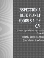 Inspección a Blue planet Foods