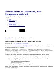 How to assess the effectiveness of internal control _ Norman Marks on Governance, Risk Management, a