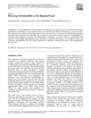 Bioenergy sustainability at the regional scale