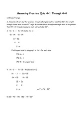 Pretest Answer Key for Congruence - Geometry Chapter 4 Pre ...