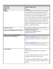 ESE 697 Week 5 Assignment Lesson Plan #5 Vocabulary or Content Area