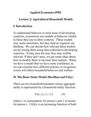 Agricultural Household Models Notes