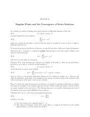Lecture 27 Singular Points and Convergence of Series Solutions