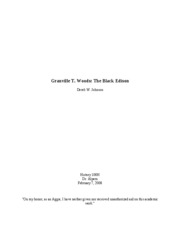 Short Research Paper Granville T. Woods