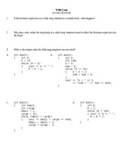 CS201 In Class Exercise-ch5 (while loops) f2007 solution