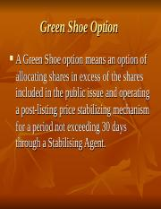7. Green Shoe Option and Book Building