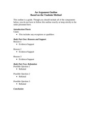 Toulmin essay templates