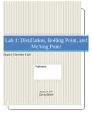 Lab 1 Distillation, Boiling Point, and Melting Point