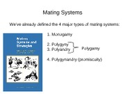 18. Mating systems