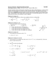Survey of Calculus Final exam review--Departmental
