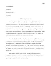 argument essay 1010 Sharon english 1010 reflective essay for portfolio 3 self-reflective essay when i first started this course i didn't know what to expect i knew i would have to write essays but i didn't know that i would have to do a lot of research i guess i thought that we  argument i was able to take a side on the subject at hand and felt confident.