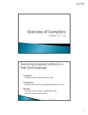Chapter 1.4 -1.6  Overview of Compilers