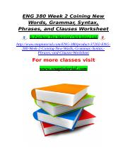 ENG 380 Week 2 Coining New Words, Grammar, Syntax, Phrases, and Clauses Worksheet.doc