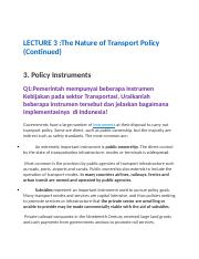 Kuliah 3 QNA The Nature of Transport Policy (cont).docx