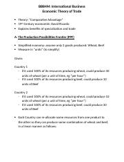 Economic Trade Theory Student Notes - 1