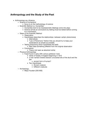 ISS 210 Notes Anthropology and the Study of the Past