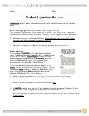 Porosity Gizmo.pdf - Name Date Student Exploration ...