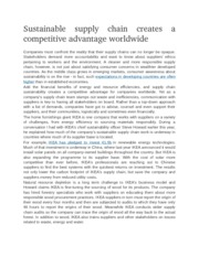 Sustainable supply chain creates a competitive advantage worldwide